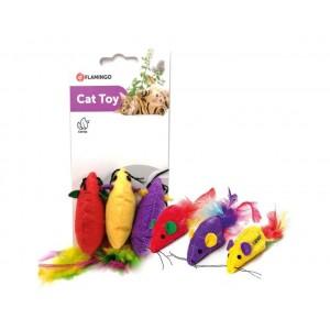 Игрушка Flamingo Supermouse мышь c перьями и кошачьей мятой, для котов, 6х2 см